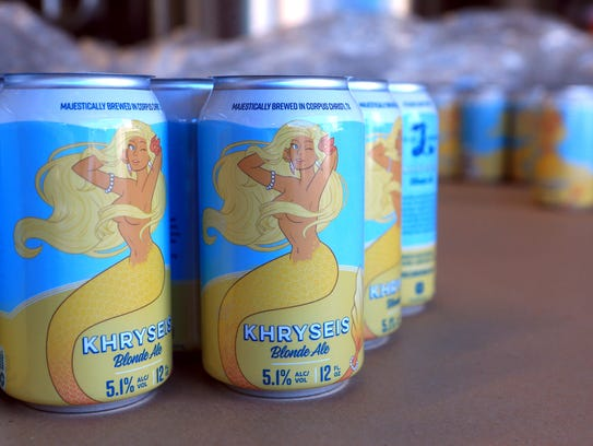 Khryseis Blonde Ale is packaged after being prepared in cans on Thursday, July 27, 2017, at Lorelei Brewery in Corpus Christi.