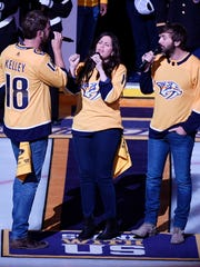 Lady Antebellum performs the National Anthem before