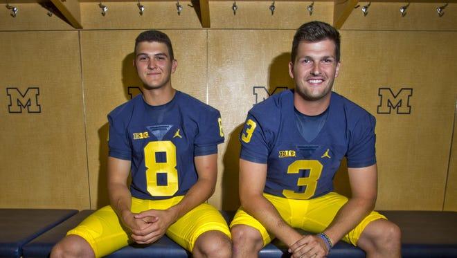 John O'Korn, left, and Wilton Speight at 2016 Michigan football media day.