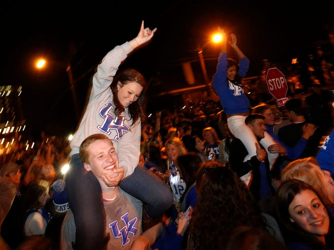 Fans celebrated on State Street, near campus in Lexington, Kentucky's 74-73 win over Wisconsin in the NCAA TournamentÕs Final Four. April 6, 2014