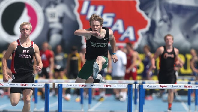 West Burlington-Notre Dame junior Jacob Smith clears a hurdle en route to a state title in the 400-meter hurdles in Class 2A during the 2015 Iowa state track and field meet on Friday, May 22, 2015, at Drake Stadium in Des Moines, Iowa.