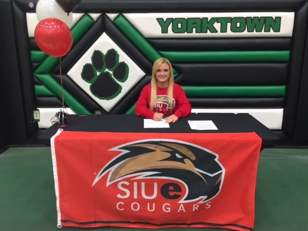 Yorktown's Morgan Clark signed with Southern Illinois University Edwardsville to play golf.