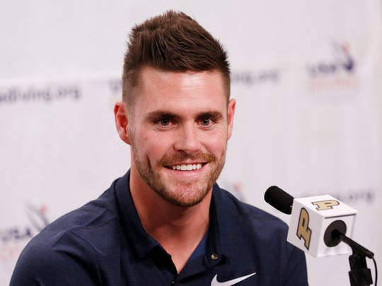 Olympic gold medalist diver and former Purdue standout David Boudia announces that he will continue training with the goal of the Tokyo Olympic in 2020 during a press conference Tuesday, September 12, 2017, on the campus of Purdue University. Boudia had considered retiring from the sport following the Rio Olympics.