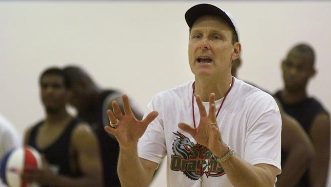 Rick Barry, shown here coaching the Florida Sea Dragons in April, 2000 at the Canterbury School gym, returned to Southwest Florida for a Basketball Hall of Fame golf tournament.