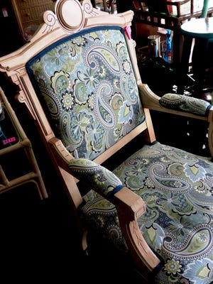 This Eastlake chair has been updated with a fresh paisley print available at It's All Good!