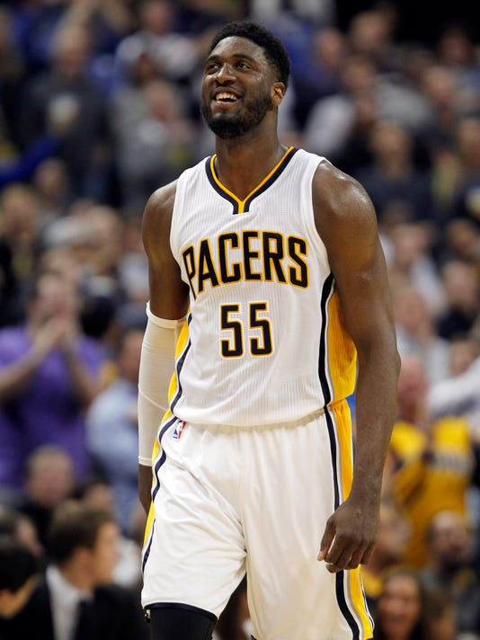 FILE - In this Feb. 6, 2015, file photo, Indiana Pacers center Roy Hibbert (55) walks up the court during an NBA basketball game between the Pacers and the Cleveland Cavaliers in Indianapolis. After striking out in free agency, the Los Angeles Lakers needed a big man. The Pacers had one to spare, and he already loves Hollywood. The Lakers acquired Hibbert on Thursday, July 9, 2015, in exchange for a future second-round draft pick, formally ending the two-time All-Star center's seven-year tenure in Indiana. (AP Photo/AJ Mast, File)