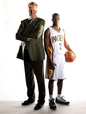 FILE -- Indiana Pacers President of Basketball Operations Larry Bird with the newest Pacer Darren Collison. The Indiana Pacers held media day at Conseco Fieldhouse on Monday, Sept. 27, 2010 in Indianapolis, IN. Sam Riche / The Star