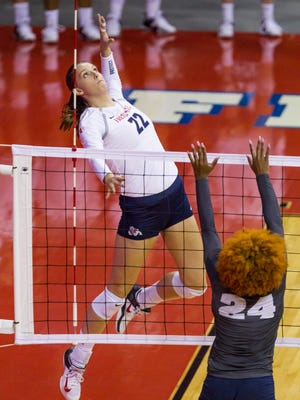 Aztec volleyball graduate Aubrey Folk, seen here in a Mountain West Conference match against Nevada on Thursday, Sept. 28, 2017, has 412 career kills entering her senior year with the Bulldogs.