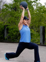 Catherine Andersen shows the ending position for the