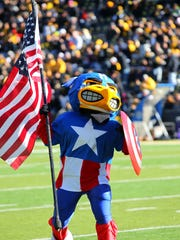 Herky dresses as Captain America during  the game against