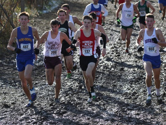 From left to right, Maine-Endwell's Parker Stokes,