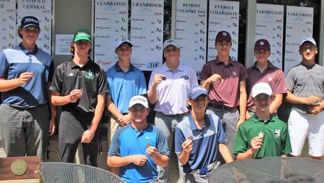 The top medalists at Wednesday's Oakland County golf tournament were (standing, left to right) Patrick Deardorff (Clarkston), TJ Hirschfield (Lake Orion), Brerndan Britz (Catholic Central), Alex Gold (Bloomfield Hills), Henry Scavone (Seaholm), Hagen Cunningham (Seaholm), Matt Lowney (Everest Collegiate); (kneeling, left to right) Jake Radom (Berkley, match medalist), Harry Bowman (Clarkston) and Ryan Pinho (Novi).