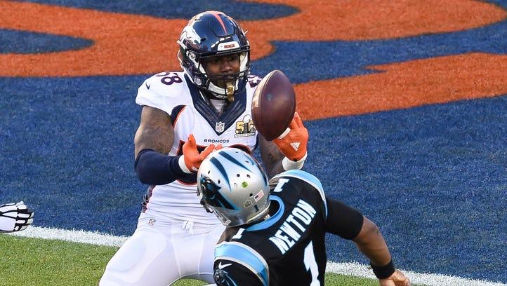 The ball goes loose as Carolina Panthers quarterback