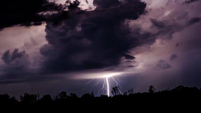 Lightning outside of Clinton, Miss. taken by Brandon Morgan on Sunday.