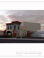 A computer rendering of the building at 323 N. Delaware St. following architectural upgrades.