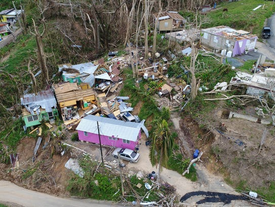 Several homes, seen from above from a drone, were destroyed