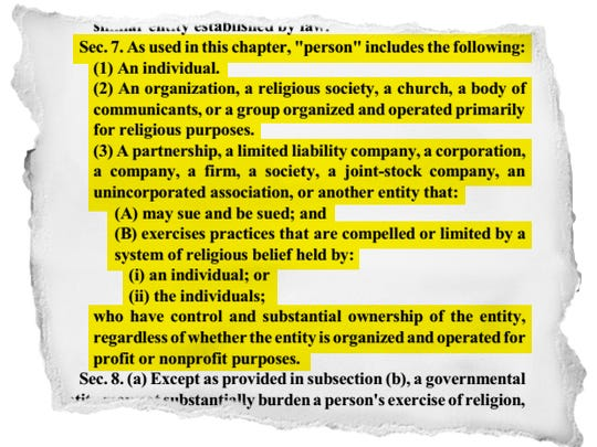 A highlighted section of the Indiana Religious Freedom  Restoration Act, Section 7 of the bill.