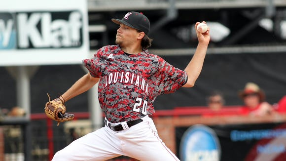 """UL's Cody Boutte pitches against the University of Arkansas at Little Rock in an NCAA baseball game Sunday at M.L. """"Tigue"""" Moore Field in Lafayette."""