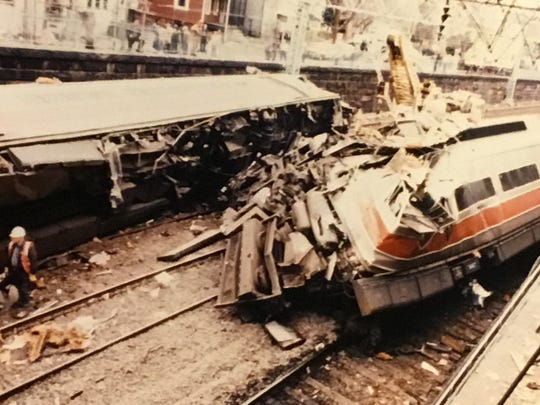 The aftermath of the April 6, 1988 Metro-North crash in Mount Vernon, which killed engineer Raymond Hunter. The photo was taken by a Metro-North engineer at the scene.