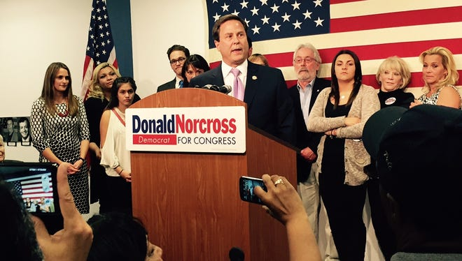 Donald Norcross, Camden Democrat, addresses supporters after winning two congressional terms in Tuesday's elections.