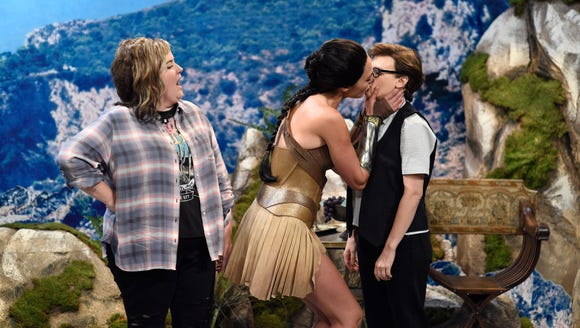 Aidy Bryant, from left, Gal Gadot as Diana and Kate