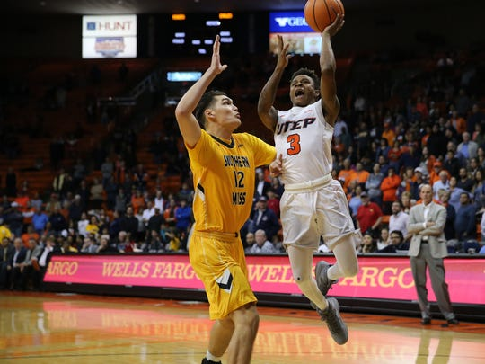 UTEP freshman Evan Gilyard lays up a basket Saturday night at the Don Haskins Center.