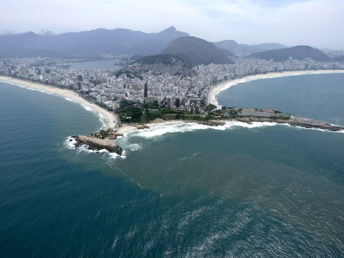 The beaches of Ipanema, left, and Copacabana, in Rio