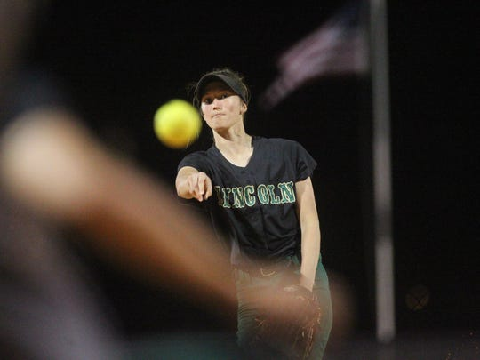 Lincoln pitcher Kelsie Rivers throws in the final inning of a run-ruled 22-5 district win over Leon on Tuesday night. Rivers ran hers and her team's record to 11-5 on the year.