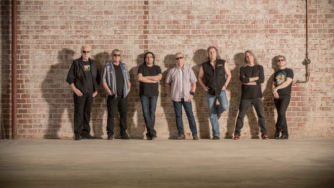 """The rock band Kansas will play from 8 to 10:30 p.m. Thursday at Memorial Auditorium. The group is celebrating the 40th anniversary of its breakout album """"Leftoverture."""" (Left to right: Richard Williams, Billy Greer, Zak Rizvi, Phil Ehart, Ronnie Platt, David Manion, and David Ragsdale)."""