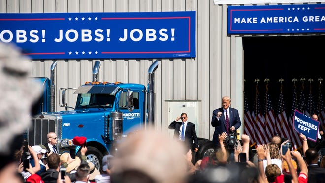 President Donald Trump arrives for a campaign stop at Mariotti Building Products in Old Forge, Pa., on Thursday, August 20, 2020.