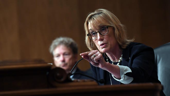 Sen. Maggie Hassan, D-N.H., seen speaking Aug. 6 in Washington, on Monday, Aug. 24 organized a discussion on mental health and the coronavirus pandemic in New Hampshire.
