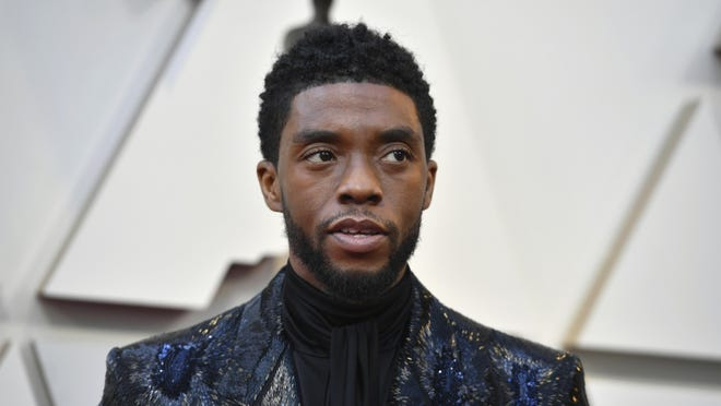 In this file photo, Chadwick Boseman arrives at the Oscars on Sunday, Feb. 24, 2019, at the Dolby Theatre in Los Angeles.