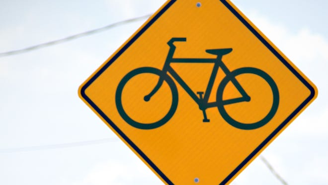 A bicycle safety sign