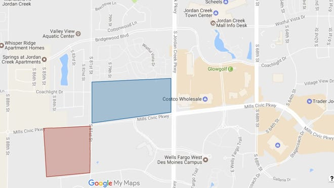 New developments will fill in areas west of Jordan Creek Town Center, with plans for office and retail space. The blue property is owned by Hurd Realty, the red is owned by Robert Etzel.