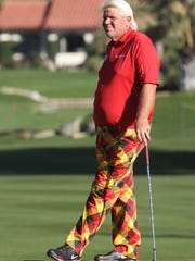 John Daly waits to hit at the La Quinta Country Club during the first day of the Humana Challenge, Thursday, January 16, 2014.