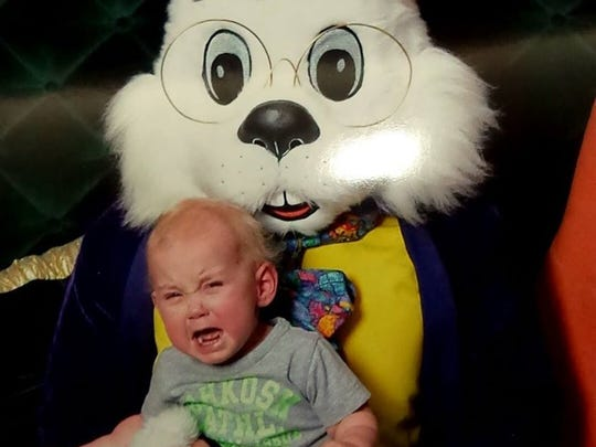 Owen Weber, 18 months, was done with the Easter bunny before he started.