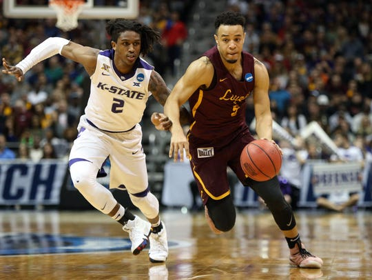 Loyola guard Marques Townes drives against Kansas State