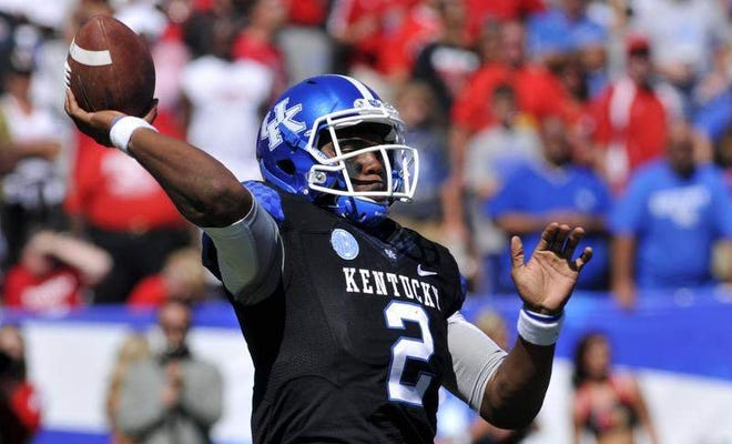 Kentucky's Jalen Whitlow passed for 105 yards, after coming in for an injured Maxwell Smith. September 14, 2013