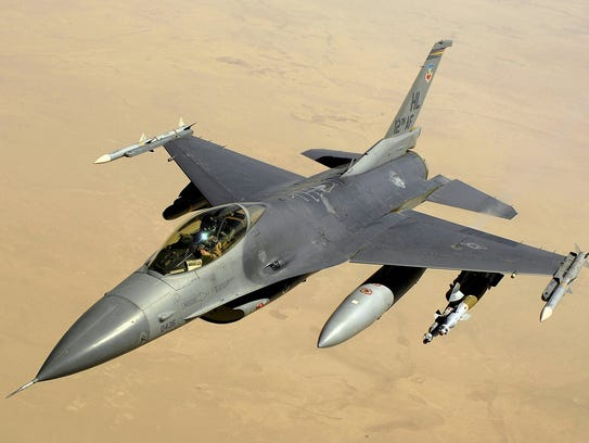 """The F-16, known as the """"Fighting Falcon,"""" is a single-engine"""