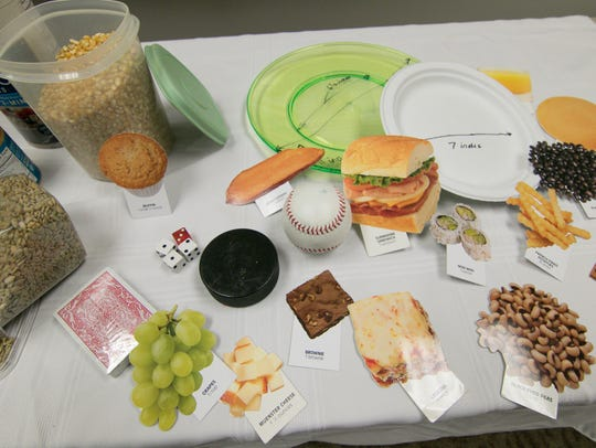 A display illustrating sizes of recommended servings
