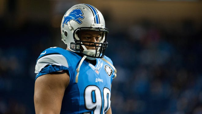 Detroit Lions defensive tackle Ndamukong Suh (90) before the game against the Minnesota Vikings at Ford Field.