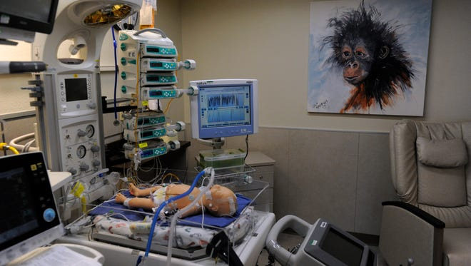An infant-sized mannequin rests on a bed in a file photo of Hendrick Medical Center's new Neonatal Intensive Care Unit Nov. 29, 2017. The new facility features state-of-the-art care for premature babies.
