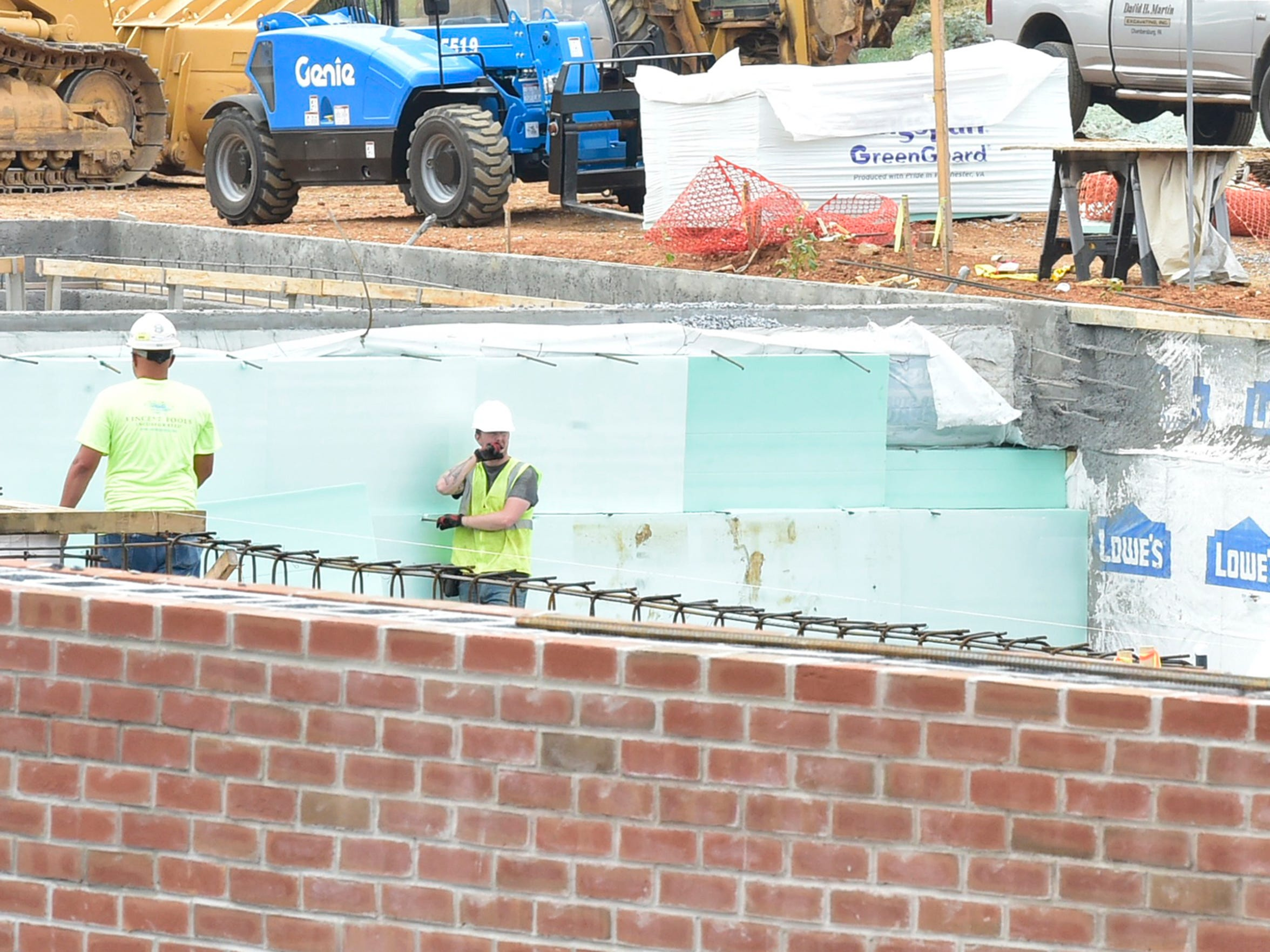 Work continues in September at the Chambersburg family aquatic center that replaces Municipal Pool at Chambersburg Memorial Park. The new facility should be open by Memorial Day 2018.