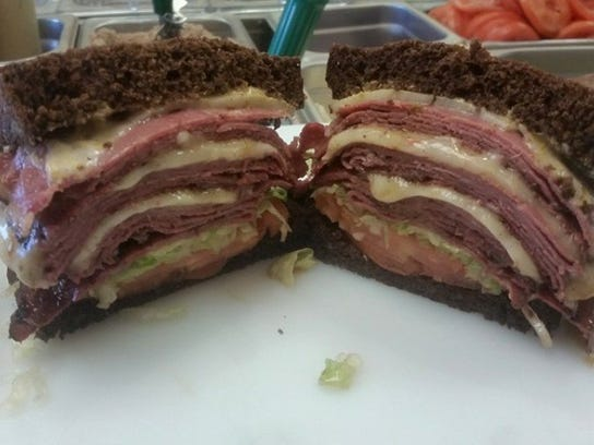 A Black Russian -- featuring grilled hot pastrami with melted pepper jack cheese on black Russian rye bread with lettuce, tomato and mustard -- is one option at Big Monster Subs & Deli in West Knoxville. (FACEBOOK PHOTO)