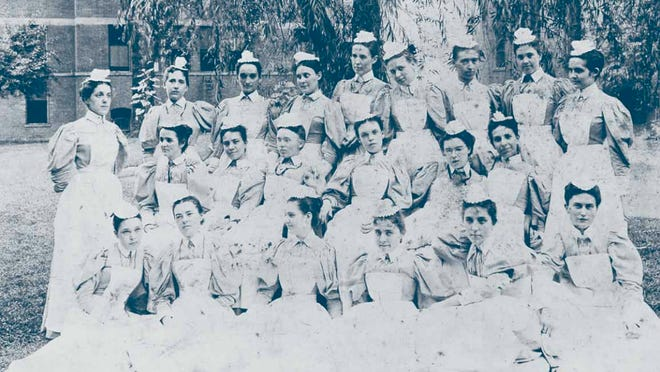 The class of 1898 at the Cincinnati Hospital Training School for Nurses in the early days of the UC College of Nursing.