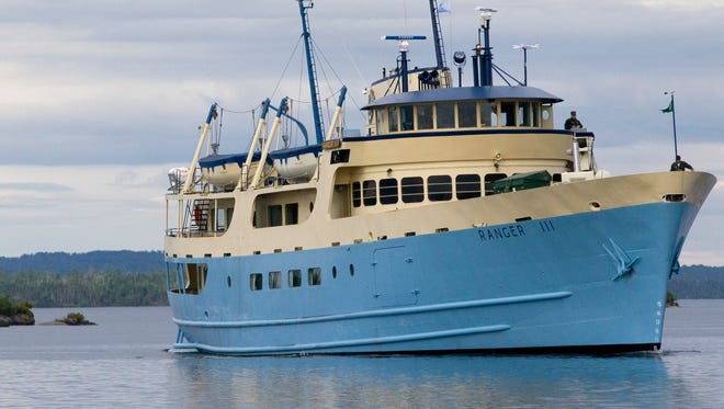 The Ranger III ferry from Houghton, Mich., prepares to dock July 9 at Isle Royale National Park in Lake Superior. The National Park Service ship has a permanent ballast treatment system that uses filtration and UV light to prevent the spread of fish virus and other invasive species.