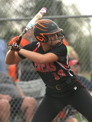 Lucas' Morgan Spitler readies herself at bat during division IV district game against Seneca East at Shelby High School on Tuesday.