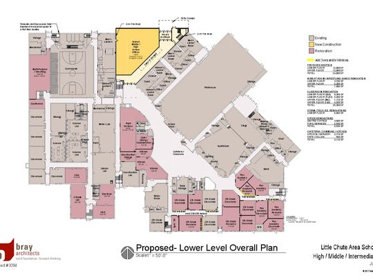 Proposed lower level floor plan for the renovations