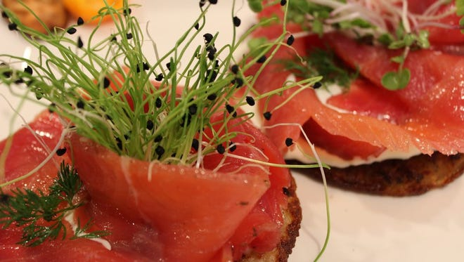 House-cured gravlax on potato pancakes, from Tasty Cultures in Cape Coral.