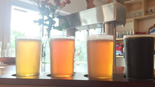 A flight of beer at a brewery in the Finger Lakes region.